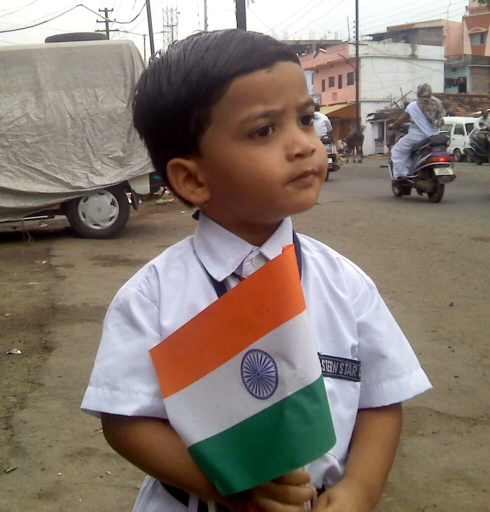 Child with Tricolor Independence Day